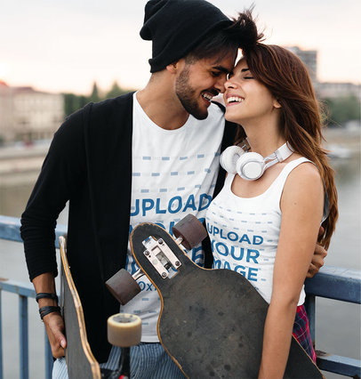 Tank Top and Tee Mockup of a Lovely Couple Holding their Skate Boards 41481-r-el2