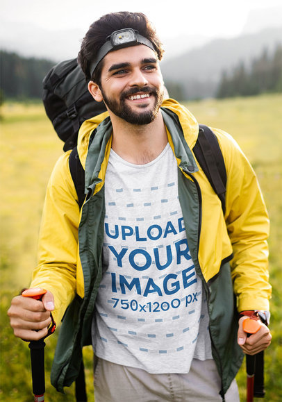 T-Shirt Mockup Featuring a Happy Man on a Hike 40362-r-el2