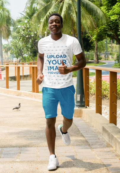 Mockup of a Man Wearing V-Neck Tee While Running  41159-r-el2