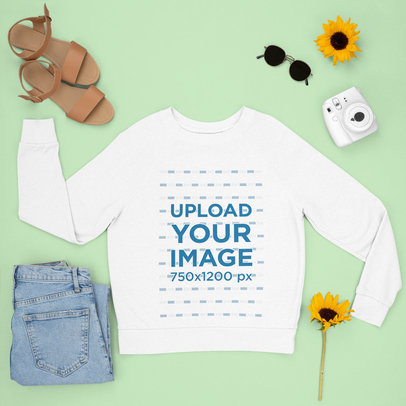 Sweatshirt Mockup Featuring a Spring Outfit m1640