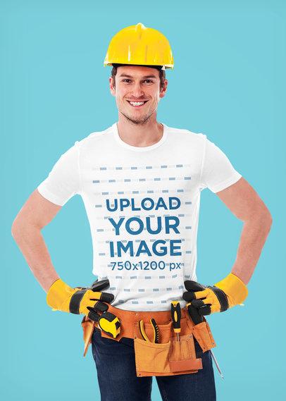 T-Shirt Mockup Featuring a Smiling Contractor 41584-r-el2