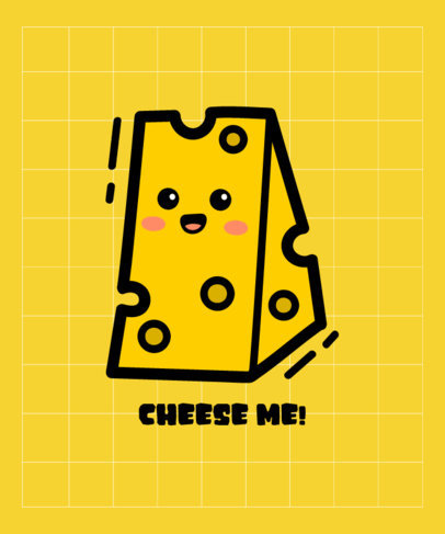 T-Shirt Design Template Featuring a Happy Cheese Cartoon 3532d-el1