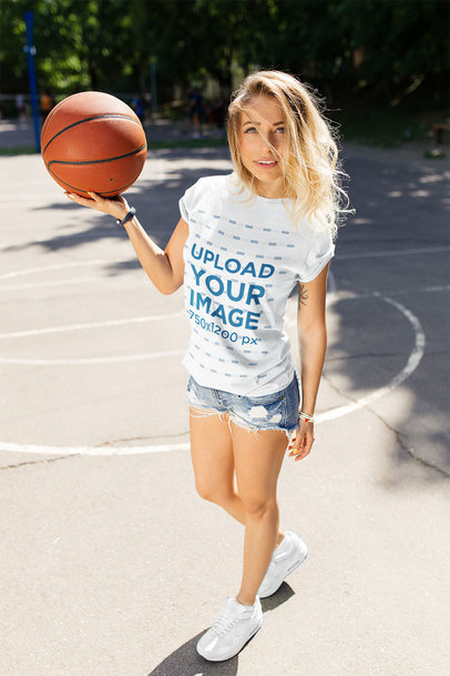 T-Shirt Mockup Featuring a Young Woman with a Basketball Ball 38043-r-el2