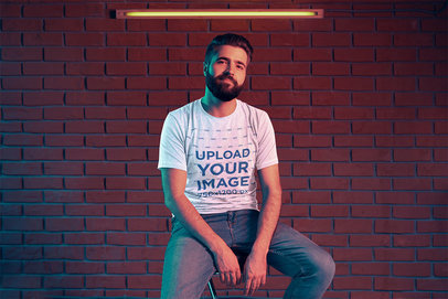 Mockup of a Bearded Man Wearing a Heathered T-Shirt 42667-r-el2