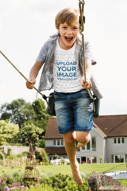 T-Shirt Mockup Featuring a Joyful Kid on a Swing 45342-r-el2