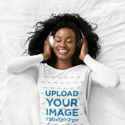 Mockup of a Woman With a Long Sleeve Tee Listening to a Happy Song 46075-r-el2
