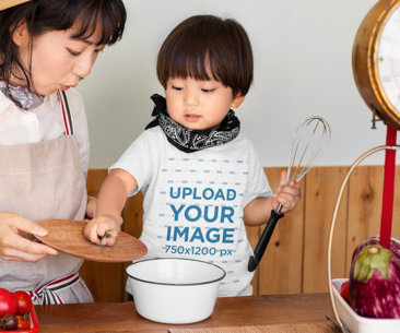 T-Shirt Mockup of a Kid with His Mom at a Cooking Class 42329-r-el2