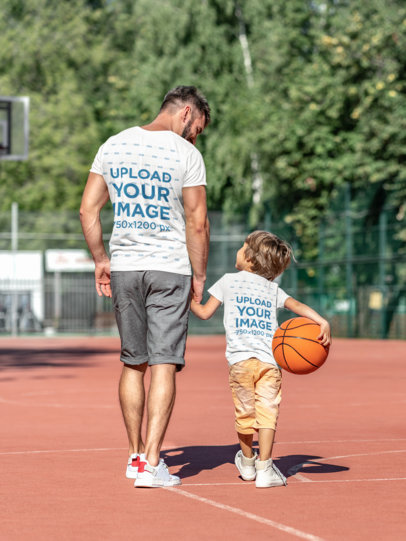 T-Shirt Mockup of a Man and His Son at a Basketball Court 36306-r-el2