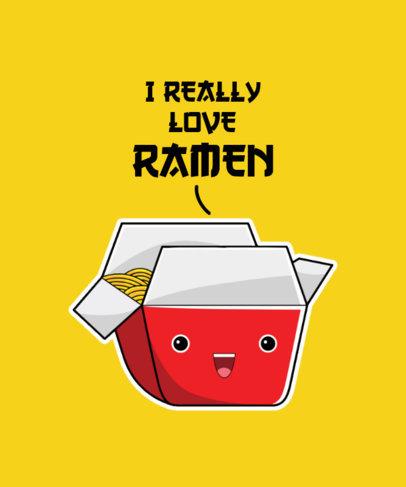 T-Shirt Design Maker for Ramen Enthusiasts Featuring a Cute Cartoon 3528c-el1