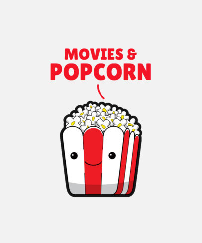 Cute T-Shirt Design Template Featuring a Popcorn Box Cartoon 3528d-el1