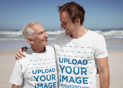 T-Shirt Mockup of a Man with His Dad at the Beach 40510-r-el2