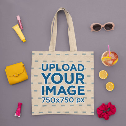 Sublimated Tote Bag Mockup Featuring Summer Girly Items m1674