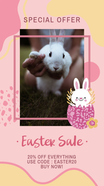 Instagram Story Design Generator for Easter Offers Featuring a Cute Bunny Graphic 3389a