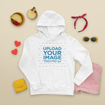 Hoodie Mockup Featuring a Spring Outfit and a Pina Colada m1661