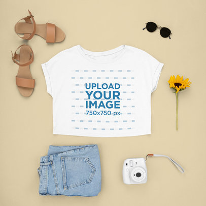 CropTop Mockup Featuring a Sweet and Feminine Spring Outfit m1644