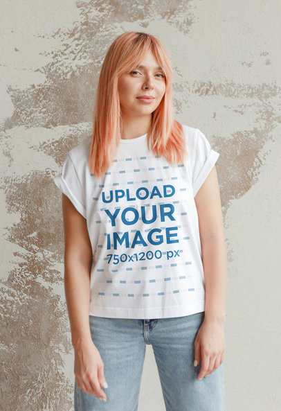 T-Shirt Mockup of a Pink-Haired Woman Posing in Front of a Wall 41939-r-el2