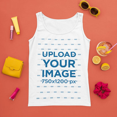 Mockup of a Tank Top with Fun Summer Items m1672