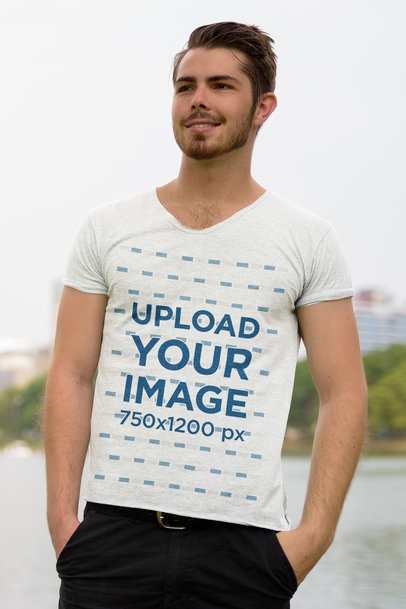 T-Shirt Mockup of a Man Posing with His Hands in His Pockets 44480-r-el2