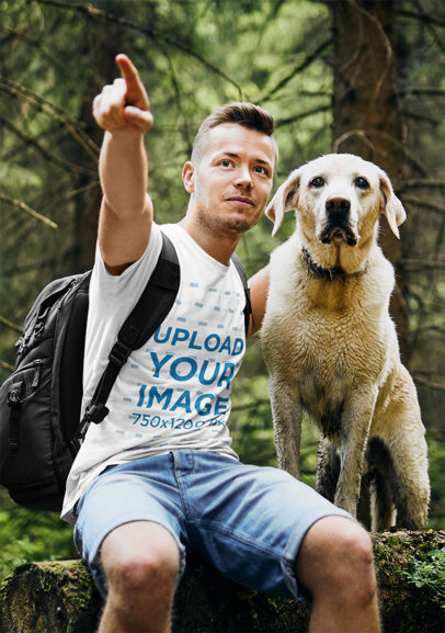 T-Shirt Mockup Featuring a Man at the Woods with His Dog 42675-r-el2