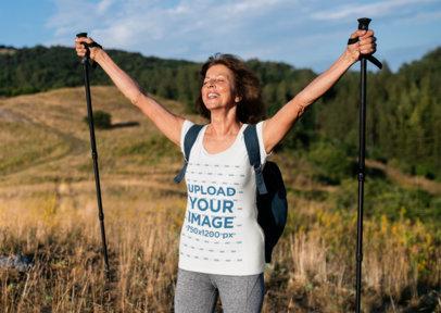 T-Shirt Mockup of a Woman Celebrating a Hiking Milestone 40712-r-el2