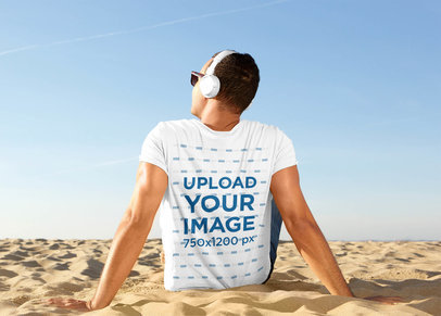 Back-View T-Shirt Mockup of a Man Listening to Music at the Beach 43856-r-el2