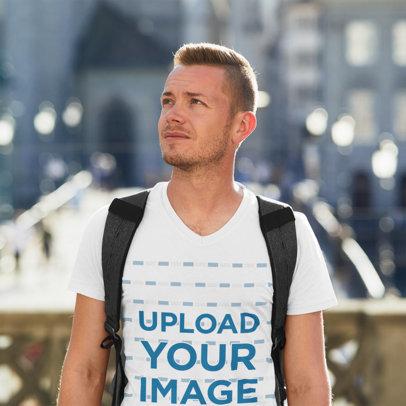 V-Neck T-Shirt Mockup Featuring a Man Traveling 42273-r-el2