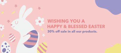Illustrated Facebook Cover Design Template for Easter Deals 3388d