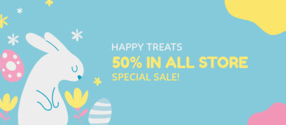 Facebook Cover Template for a Special Sale Featuring Easter Eggs and a Bunny 3388g