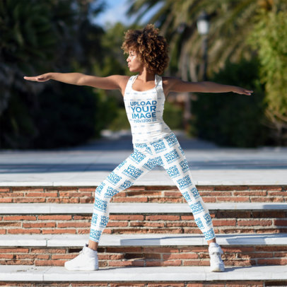 Mockup of a Woman Wearing Leggings and a Tank Top While Doing Urban Yoga 37765-r-el2