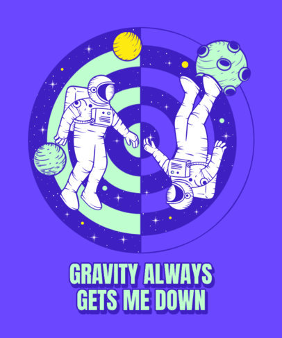 T-Shirt Design Generator with an Astronaut Themed Surrealistic Graphic 3380g