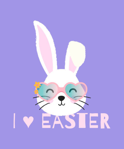 Easter T-Shirt Design Maker Featuring a Bunny with Heart-Shaped Glasses 3387c