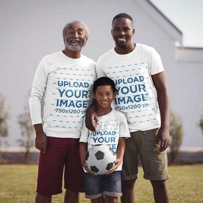 Long Sleeve and T-Shirt Mockup of a Boy Posing With His Dad and His Grandpa 40482-r-el