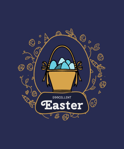 Illustrated T-Shirt Design Maker for Kids Featuring a Basket Full of Easter Eggs 3512c-el1