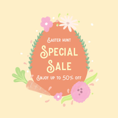 Illustrated Facebook Post Generator for a Special Easter Discount 3391d