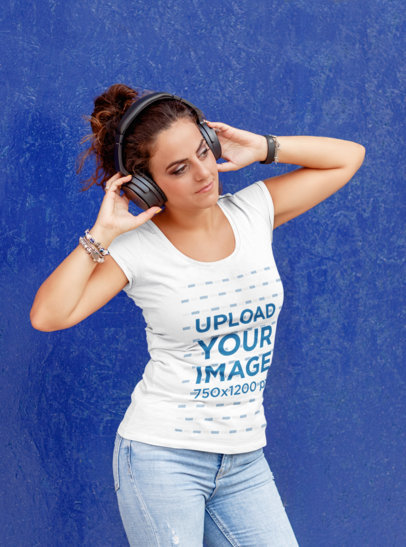 T-Shirt Mockup Featuring a Woman Listening to Music Against a Colored Wall 42276-r-el2