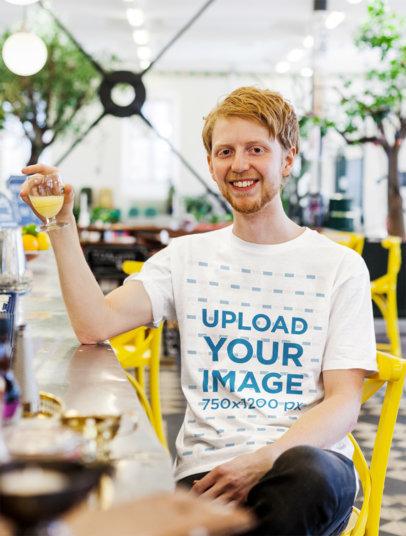 T-Shirt Mockup of a Happy Man Having a Drink 45771-r-el2