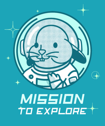 Illustrated T-Shirt Design Maker Featuring an Astronaut Bunny 3381c