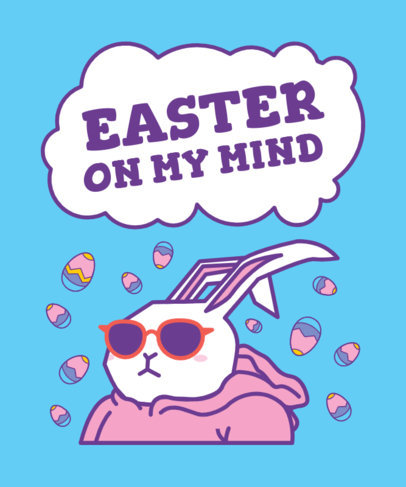 Children's T-Shirt Design Template Featuring a Cool Easter Bunny 3386b