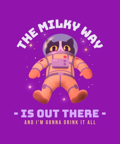 Illustrated T-Shirt Design Template  Featuring an Astronaut Cat 3382h
