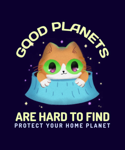 T-Shirt Design Creator Featuring a Cat Exploring Another Planet 3382d