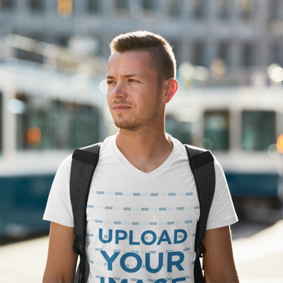 T-Shirt Mockup Featuring a Backpacker at a Train Station 42274-r-el2