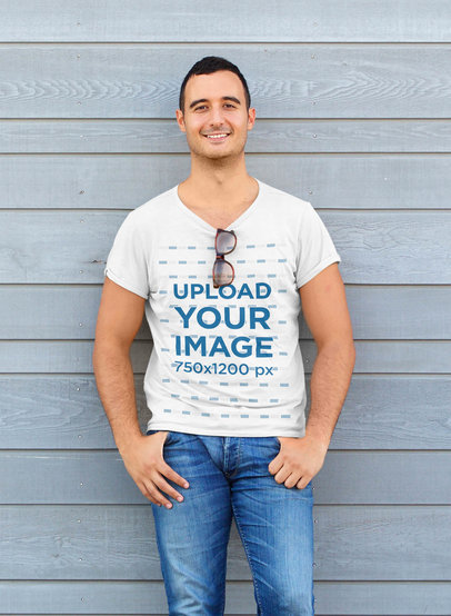 T-Shirt Mockup Featuring a Man Leaning Against a Wall 44472-r-el2