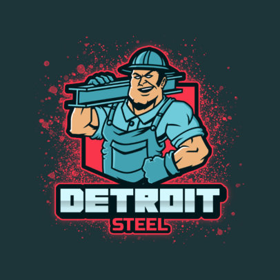 Logo Template Featuring an Illustration of a Steel Worker 4060f