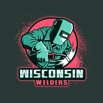 Sports Logo Template With a Graphic of a Welder 4060g