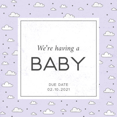 Facebook Post Maker for a Pregnancy Reveal Featuring Illustrated Patterns 3397