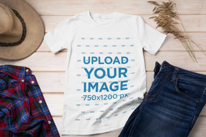 Round-Neck Tee Mockup Featuring an Outfit over a Wooden Surface 39664-r-el2