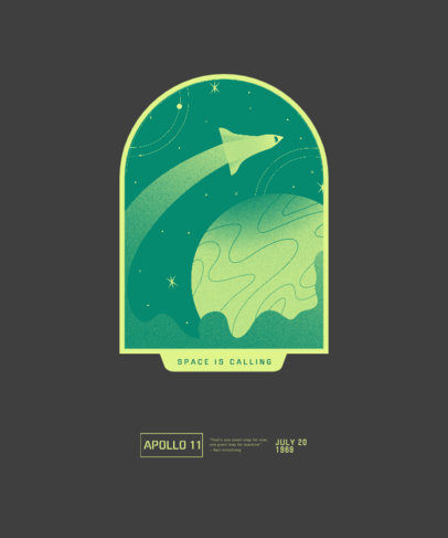 T-Shirt Design Template with a Graphic of a Space Journey 3383h