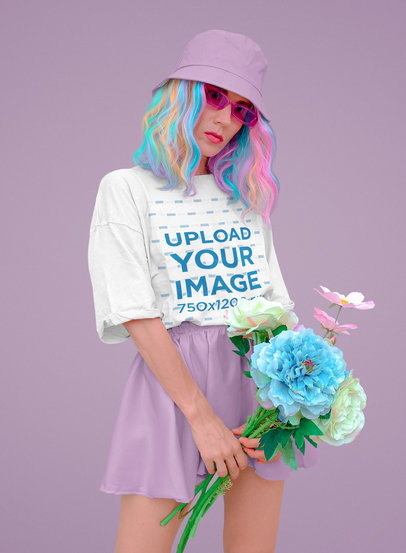 Mockup of a Woman With Colorful Hair Wearing an Oversized T-Shirt 43020-r-el2