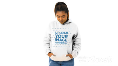 Pullover Hoodie Video of a Smiling Woman at a Studio 45373a