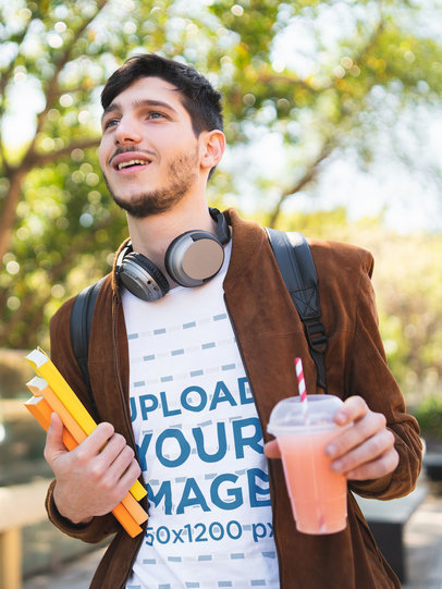 T-Shirt Mockup of a College Student Walking on Campus 41163-r-el2